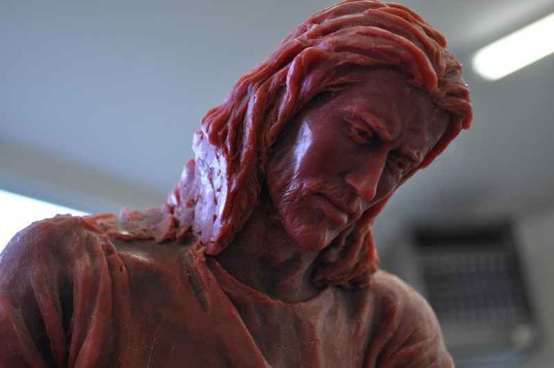 A wax mold of the Savior carrying the cross.