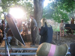 On the set of the Joseph Smith movie.