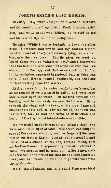 Page 1 of Joseph Smith's Last Dream, as told by W. W. Phelps.