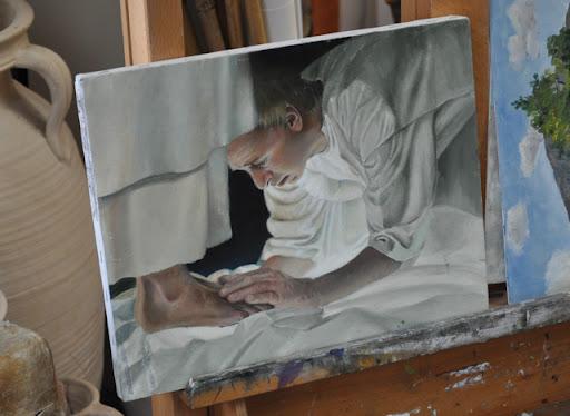 Liz Lemon Swindle's unfinished painting of Joseph Smith.