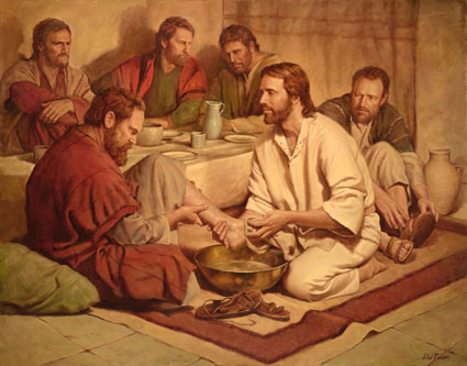Christ washing the feet of His disciples.
