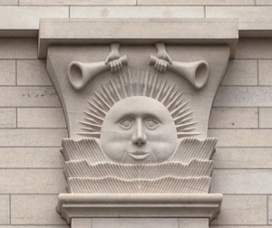 A sunstone from the Nauvoo temple. The image of the sun is often used to represent the Celestial Kingdom.