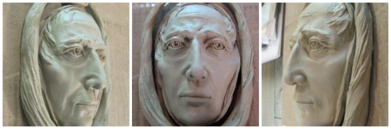 A clay sculpture of Jacob Marley, shown at different angles.