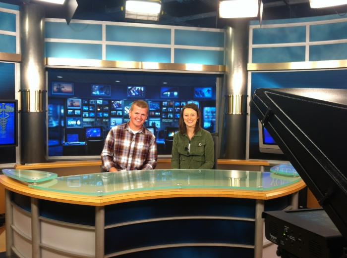 Me and the Mrs., preparing for our first nationally televised interview. No biggie, right? :/