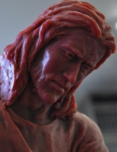 An incomplete sculpture of Christ by Angela Johnson