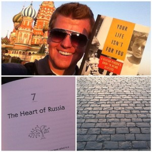 Holding an advance copy of my book on Red Square. Click on the image to order a copy!