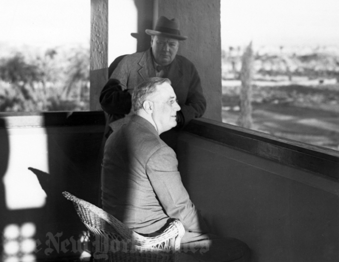 Franklin D. Roosevelt and Winston Churchill in Morocco.